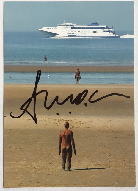 Image for Antony Gormley SIGNED Postcard Another Place Crosby Beach Formby