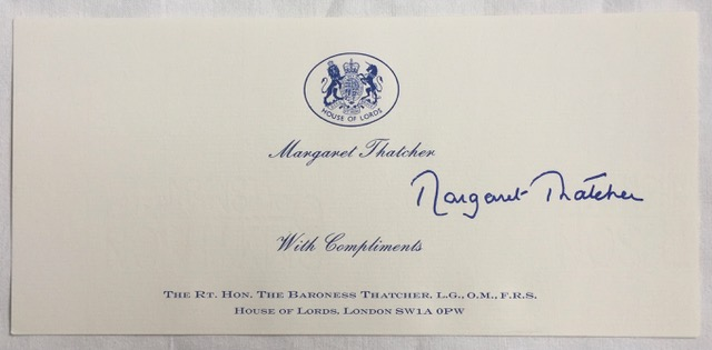Image for Margaret Thatcher Autographed Downing Street Compliment Slip