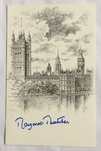 Image for Margaret Thatcher Handsigned Stunning Illustrated Parliament Book Plate