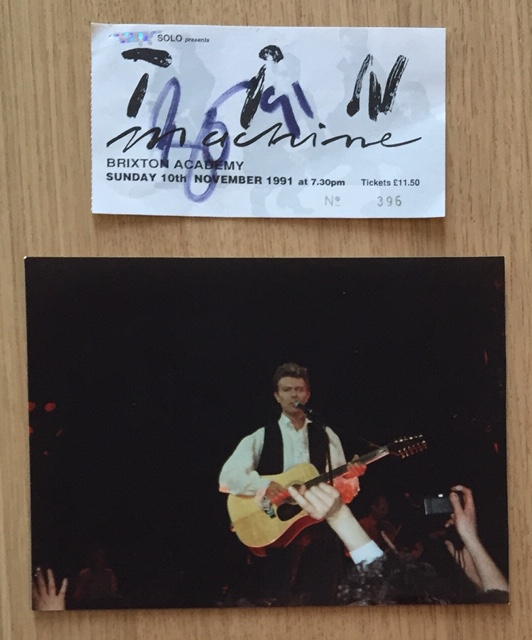 Image for Signed David Bowie Concert Ticket and Unpublished 7x5 Colour Photograph TIN MACHINE TOUR